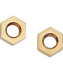 burberry par de brincos nut banhados a ouro - dourado