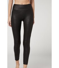 calzedonia leather effect total comfort thermal leggings woman black size xs