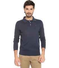 sweater azul 7 preppy m/l tejido delgado cuello polo