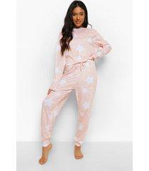 petite sterrenprint pyjama set met open schouders, blush
