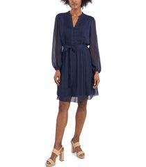 msk petite long-sleeve pintuck dress