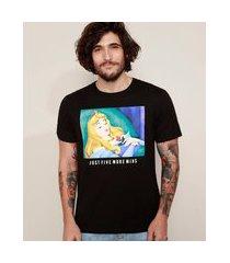 "camiseta masculina bela adormecida five more mins"" manga curta gola careca preta"""
