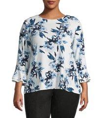 karl lagerfeld paris women's plus bell-sleeve print top - blue multi - size 2x (18-20)