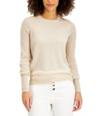 style & co mixed-stitch pointelle sweater, created for macy's