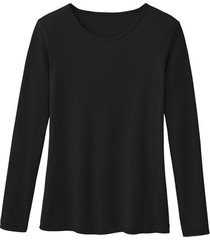 biologisch katoenen shirt met ronde hals en lange mouwen, zwart 44