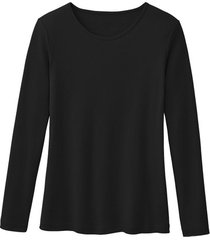 biologisch katoenen shirt met ronde hals en lange mouwen, zwart 40/42