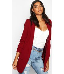 tall ruched sleeve blazer, berry