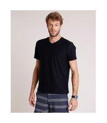camiseta masculina básica flamê manga curta gola v preto