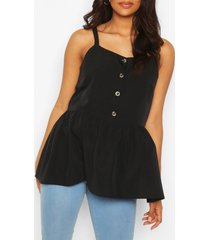 maternity button front cami smock top, black