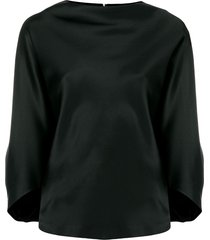 chalayan signature drape boat neck blouse - black