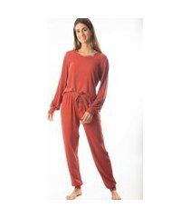 pijama feminino longo monthal malha canelada cor terra