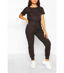 petite soft rib elastic waist jogger jumpsuit, black