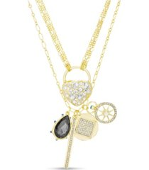 kensie rhinestone heart and lock charm multi layered necklace