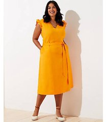 loft plus cutout button back midi dress