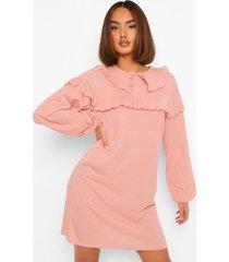 gesmokte jurk met geplooide kraag, rose