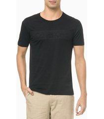 camiseta masculina slim logo em relevo preta calvin klein - pp