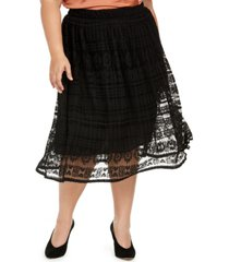 monteau trendy plus size lace midi skirt