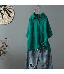 zanzea más el tamaño de las mujeres camisa de algodón étnico tops turn down cuello de la blusa de gran tamaño tops -verde
