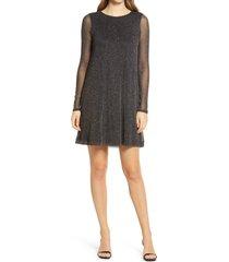 women's lilly pulitzer ophelia glitter onyx long sleeve swing dress, size large - black