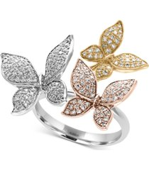 trio by effy diamond pave butterfly ring (5/8 ct. t.w.) in 14k yellow, white and rose gold