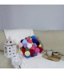 kolorowa poduszka z pomponów - mix