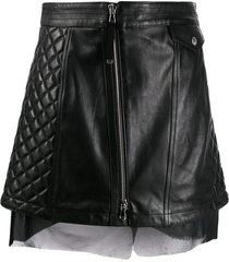 diesel black gold quilted leather skirt