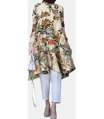 camicetta lunga asimmetrica con colletto rovesciato manica lunga stampata a fiori per donna
