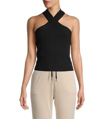 525 america women's halterneck cropped top - black - size l