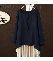 zanzea mujeres corte cuadrado de cuello de manga larga sólido tapas de la camisa de la blusa de gran tamaño tee -azul