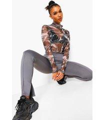 skinny fit broek met split, charcoal