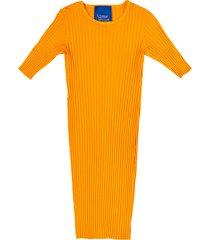 women's rib by simon miller capo short sleeve rib dress, size medium - orange