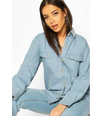 oversized denim shirt, light blue
