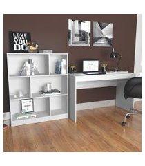 conjunto de mesa para notebook hype com estante de escritório darci branco