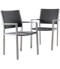 noble house cape coral outdoor dining chairs with frame, set of 2