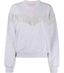 chiara ferragni embellished tassel sweatshirt - grey