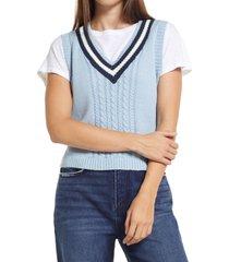 bp. collegiate sweater vest, size x-small in blue- navy prep stripe at nordstrom