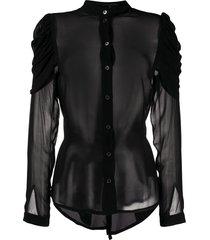ann demeulemeester structured shoulders sheer shirt - black
