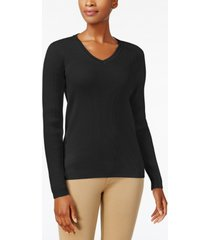 karen scott petite cotton ribbed v-neck sweater, created for macy's