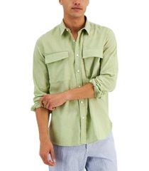 sun + stone men's august regular-fit garment-dyed linen shirt, created for macy's