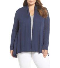 plus size women's bobeau high/low cardigan, size 2x - blue