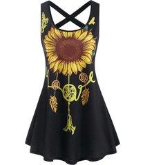 sunflower print criss cross tank dress
