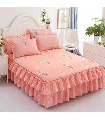 cama bilateral coreana falda + 2 par de cama almohadón falda establece