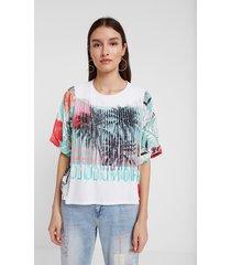 hawaiian t-shirt with fringe - white - xl