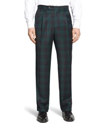 men's berle touch finish pleated classic fit plaid wool trousers, size 33 x unhemmed - green