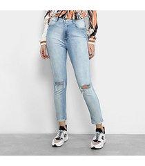 calça jeans cigarrete lança perfume puídos cintura alta feminina