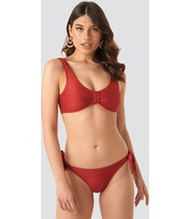 na-kd swimwear ribbed knot bikini panty - red