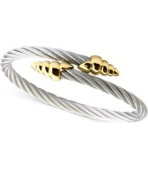 charriol cable bypass bracelet in stainless steel & 18k gold-plated silver