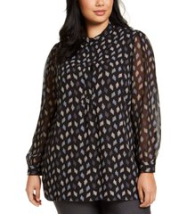 anne klein plus size printed sheer-sleeve top