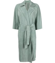 drome belted-waist single-breasted suede coat - green