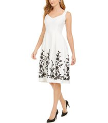 donna rico floral hem a-line dress